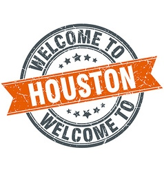 Welcome to houston orange round ribbon stamp vector