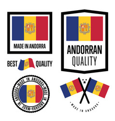 Andorra quality label set for goods vector