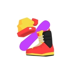 Boot Winter Hat And Board vector image