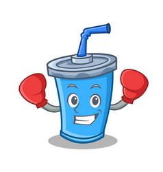 boxing soda drink character cartoon vector image