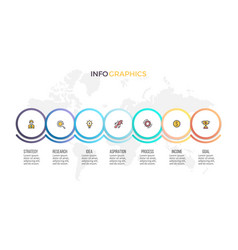 business process timeline infographics with 7 vector image vector image