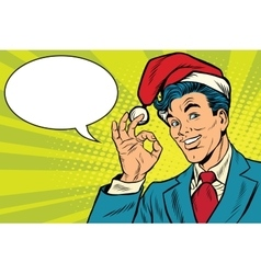 Christmas businessman OK gesture vector image