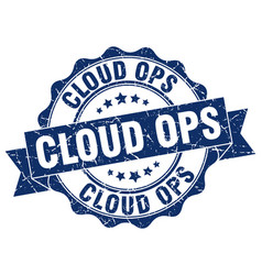 Cloud ops stamp sign seal vector