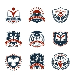 Colorful University Logos Isolated Set vector image