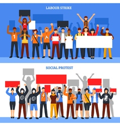 Crowd strike banners set vector