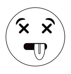 Dead emoticon funny thin line vector