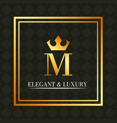 elegant and luxury monogram crown royal vector image