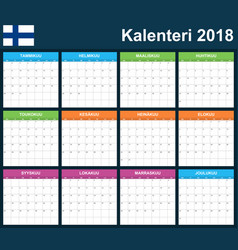 Finnish planner blank for 2018 scheduler agenda vector