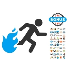 Fired running man icon with 2017 year bonus vector