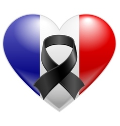 French flag heart with black mourning ribbon vector