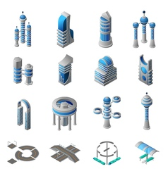 Future city isometric icons set vector