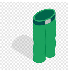 Green ski trousers isometric icon vector