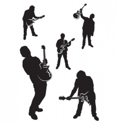 Guitar player silhouette set vector