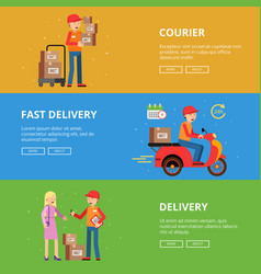 horizontal banners set delivery service people vector image