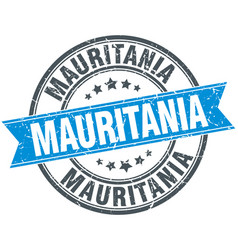 Mauritania blue round grunge vintage ribbon stamp vector