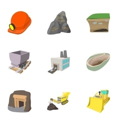 Mining activities icons set cartoon style vector