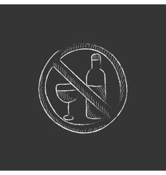 No alcohol sign drawn in chalk icon vector