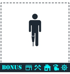 Person with foot prosthesis icon flat vector image