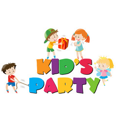 poster design with kids at party vector image