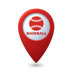 Red map pointer with baseball icon vector image vector image