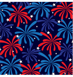 red white blue fireworks and stars vector image
