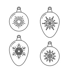 set of christmas bauble line icons vector image