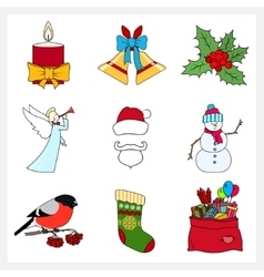 Set of linear colorful christmas icons vector