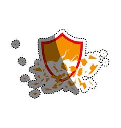Shield broken abstract crest vector