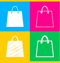 shopping bag four styles of icon on vector image vector image