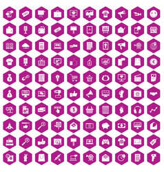 100 internet marketing icons hexagon violet vector