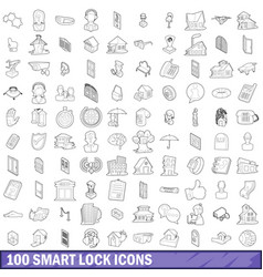 100 smart lock icons set outline style vector