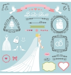 Wedding bridal shower decor setbrideswirlsicons vector
