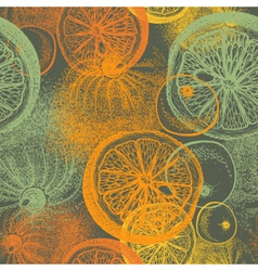 Wallpaper seamless pattern with oranges citrus vector