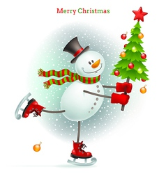Smiling snowman with christmas tree vector
