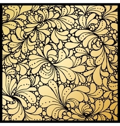 Golden petals or floral leafs ornament paisley vector