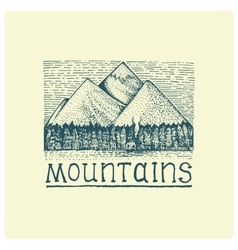 Mountains with house and forest engraved hand vector