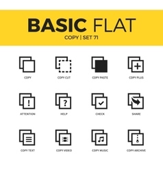 Basic set of copy icons vector image