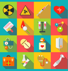 Medical items icons set flat style vector