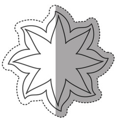 sticker monochrome contour with flower in shape of vector image