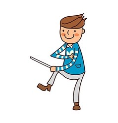 Portrait of boy holding stick vector