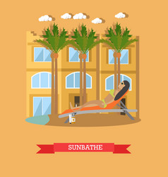 Trip to egypt sunbathing concept flat vector