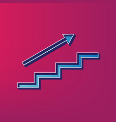 Stair with arrow  blue 3d printed icon on vector