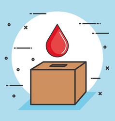 Ballot box with a blood drop donation concept vector