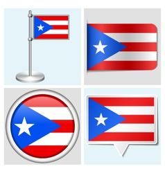 Puerto rico flag - sticker button label vector