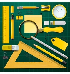 Yellow school supplies with green background vector