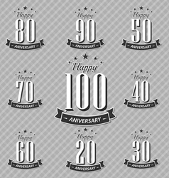 Set of retro vintage style anniversary vector