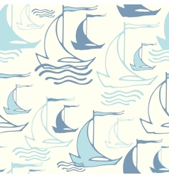 Seamless pattern with decorative sailing ships on vector