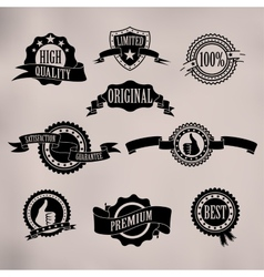 Black badges and ribbons vector