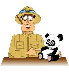 Hunter and panda cartoon vector image