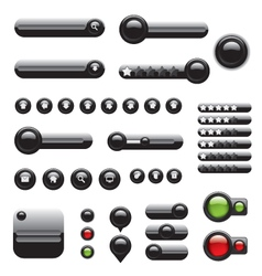 Web elements set black buttons vector